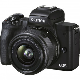 Цифровой фотоаппарат Canon EOS M50 Mk2 + 15-45 IS STM Kit Black + сумка SB130 + SD16GB (4728C058) фото 1