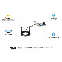 Сетевая карта Wi-Fi ASUS PCE-AC58BT AX3000 (PCE-AC58BT) фото 2